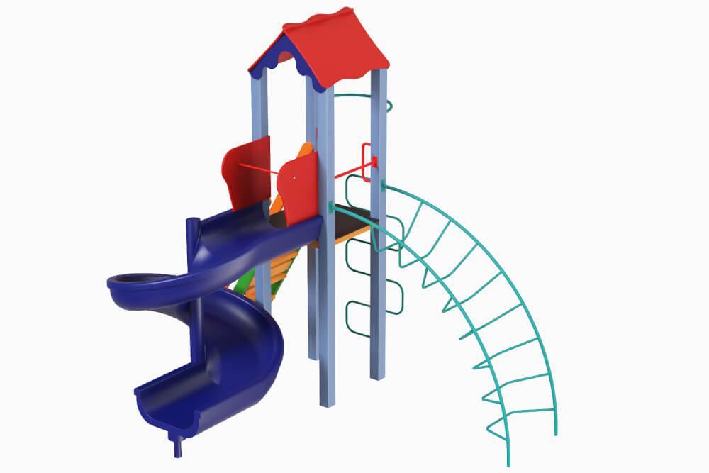 """Детский игровой комплекс """"Петушок с пластиковой горкой Спираль"""",  1,5м"""