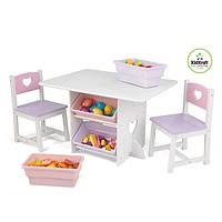 Детский стол с ящиками и двумя стульчиками Star Table & Chair Set KidKraft розовый, 26913, фото 1