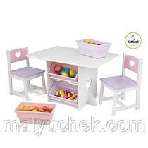 Детский стол с ящиками и двумя стульчиками Star Table & Chair Set KidKraft розовый, 26913