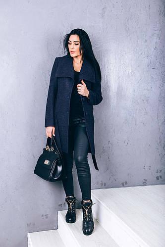 Купить пальто из шерсти синее Д266