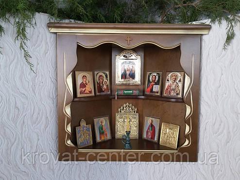 """Домашний иконостас, угловая полка для икон (ольха, покрытие - """"лесной орех"""" № 44, патина под золото), фото 2"""