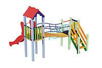 Детский игровой комплекс Луна с пластиковой горкой, высота горки 1,2м