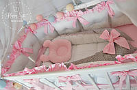 Бортики,захист в ліжечко +простинька+балдахін+кокон+ортопедична подушка+конвертик-одіялко 1635