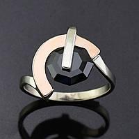 Серебряное кольцо с золотой пластиной, размер 18.5, чёрный фианит, серебро 3.27 г, золото 0.09 г