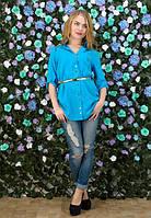 Женская хлопковая рубашка-туника с поясом Weekend (разные цвета)