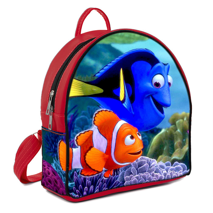 Красный городской рюкзак с принтом Немо