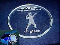 Медаль хрустальная с футляром под гравировку