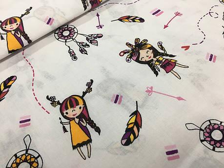 """Польская хлопковая ткань """"индейцы с вигвамами желто-малиновые на белом"""", фото 2"""