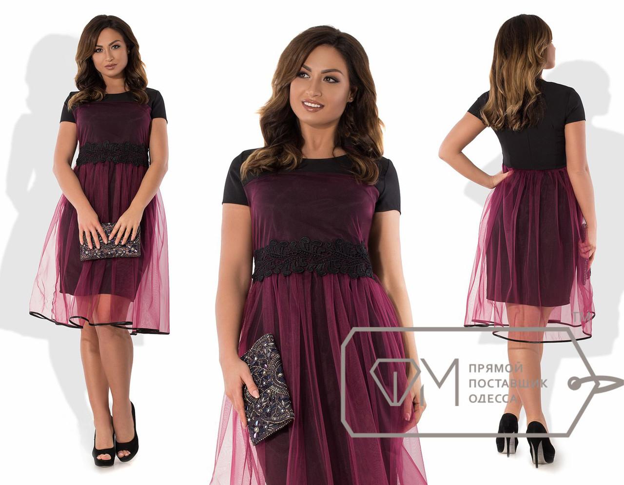 Нарядное платье с фатином и кружевом, батал - All You Need - прямой  поставщик женской 0be456f44f1