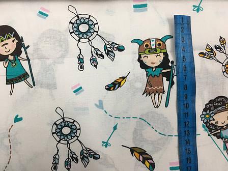 """Польская хлопковая ткань """"индейцы с вигвамами бирюзовые на белом"""", фото 2"""