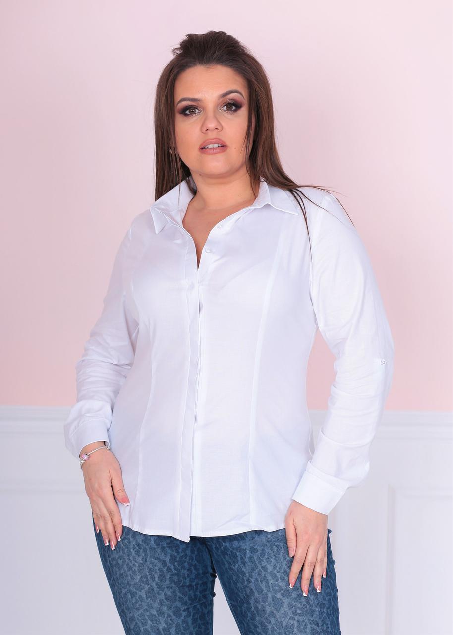 fdb448cc75d Стильная белая рубашка с длинным рукавом батал - Интернет-магазин одежды