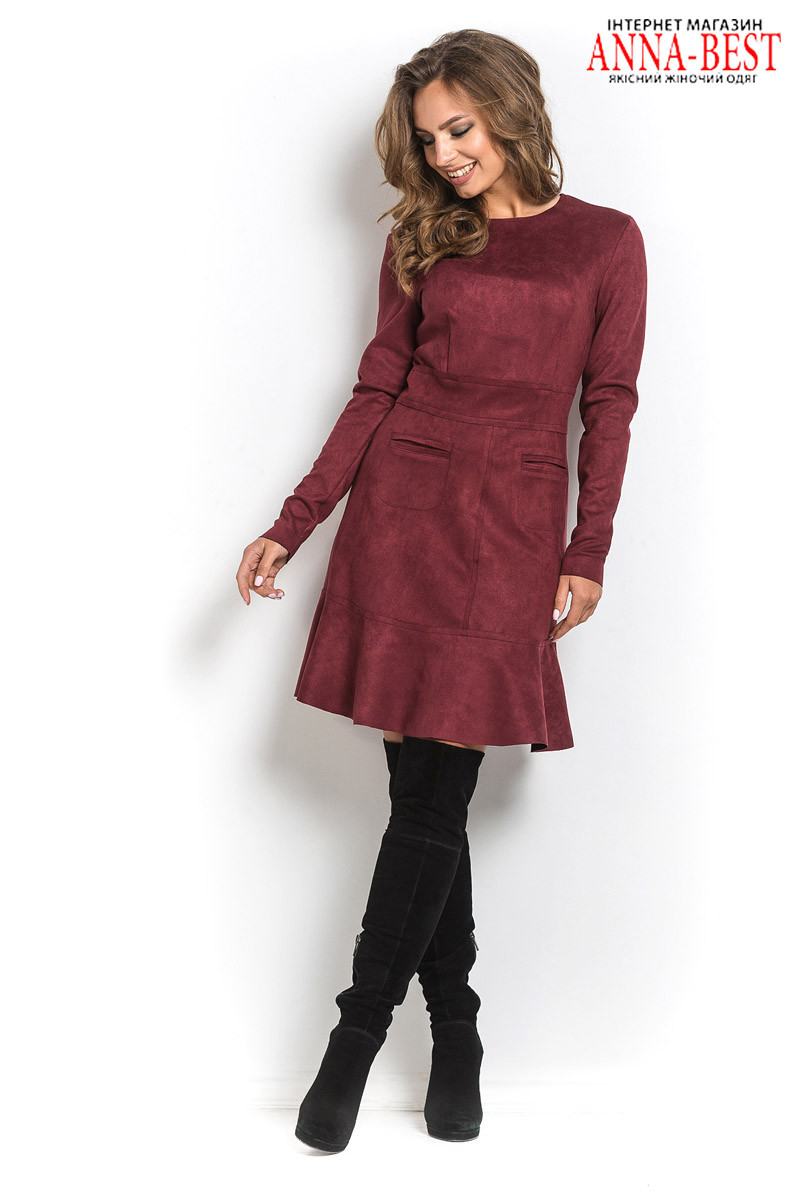 Бордовое платье короткое 65