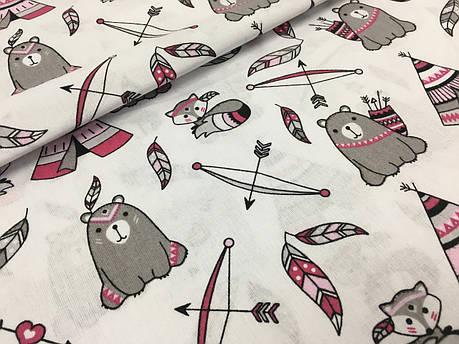 """Польская хлопковая ткань """"мишки с вигвамами серо-малиновые на белом"""", фото 2"""