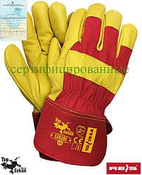 Рукавички робочі укріплені шкірою REIS Польща (робочі рукавички шкіряні) CY CANADA