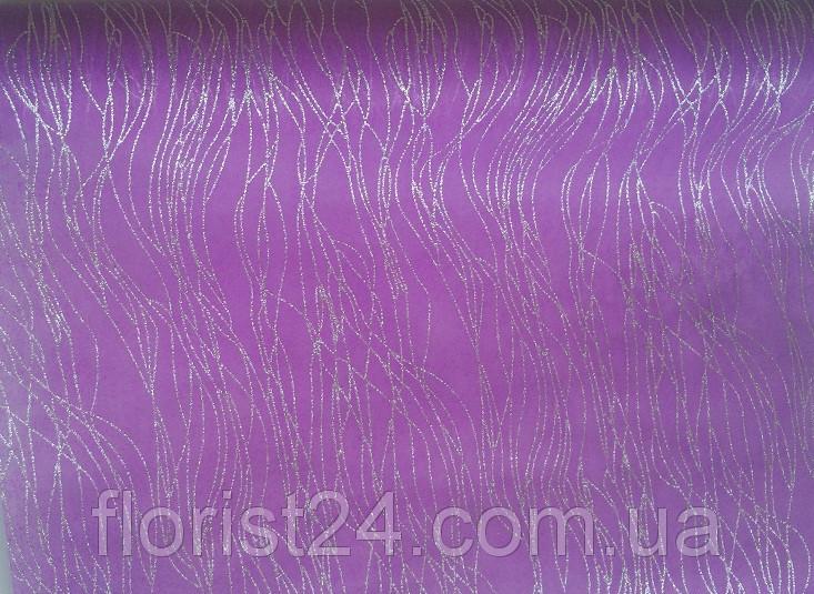 Флизелин с глиттером фиолетовый 50х50 см