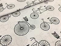 """Польская хлопковая ткань """"велосипеды черно-белые"""""""