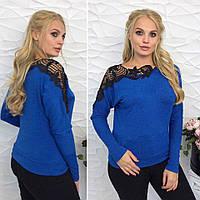 Стильный женский свитер батал приталенного силуэта с длинным рукавом   и вставкой из макраме