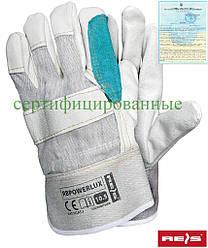 Захисні рукавички посилені лицьовій шкірою (рукавички шкіряні робочі REIS Польща) RBPOWERLUX BEJKZ