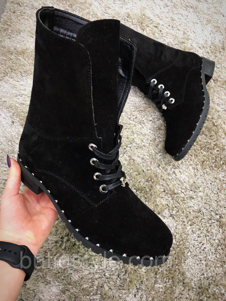 37  размер! Стильные женские ботинки черные, натуральная замша