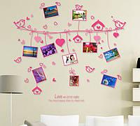 Інтер'єрна наліпка на стіну Пташки з фото / Интерьерная наклейка на стену Птички с фото (AM9047)
