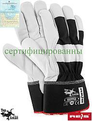 Рукавички робочі укріплені волової шкірою рукавички REIS Польща (шкіряні робочі) RHIPPER BW