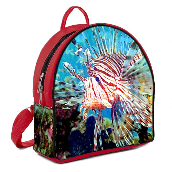 Синий городской рюкзак с принтом Рыба