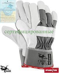 Рукавички шкіряні сірі робочі REIS Польща RHIPPER SW