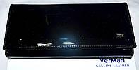 Женский черный кожаный кошелек VerMari в лаке на кнопке , фото 1