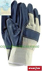 Рукавички посилені яловий шкірою REIS Польща (рукавички шкіряні робочі) RL BECK