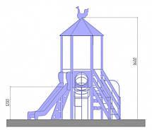 """Детский игровой комплекс """"Башня с пластиковой горкой"""",  1,2 м, фото 2"""