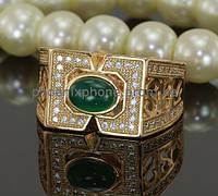 Стильное кольцо с фианитами, покрытое золотом (119731)