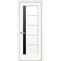 Двери межкомнатные Новый Стиль НОСТРА Грета черное стекло 40x800x2000 мм белый матовый