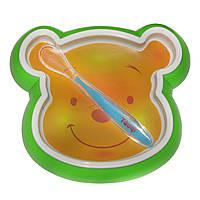 Набор детской посуды (пластиковая тарелка, ложка силиконовая)