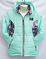 Куртка детская весенняя под парку стильная с цветочными вставками на девочку 7-11 лет купить оптом 7км Одесса