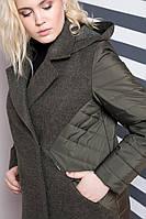 Женское комбинированное пальто на весну-осень 48-64р хаки