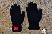 Теплые зимние перчатки на флисе мужские джордан/Jordan реплика, фото 1