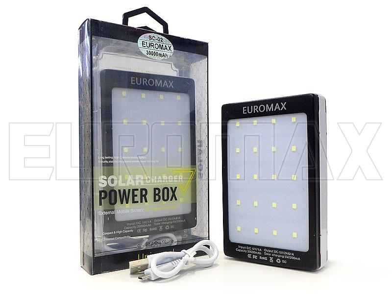 Внешний аккумулятор (power bank) EUROMAX Solar 30000мАч (6000мАч) SC-02