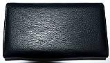 Женский черный кожаный кошелек Hassion на кнопке среднего размера, фото 2