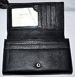 Женский черный кожаный кошелек Hassion на кнопке среднего размера, фото 3