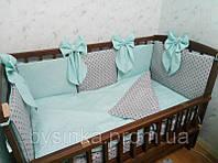 Постельное в кроватку новорожденного из 6 ед.(без кармана и балдахина). Бортики (40 см)