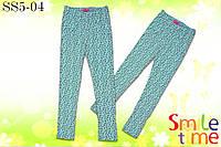Лосины для девочки трикотажные р.116,122, 128,134,140,146,152 SmileTime Цветы, мятные