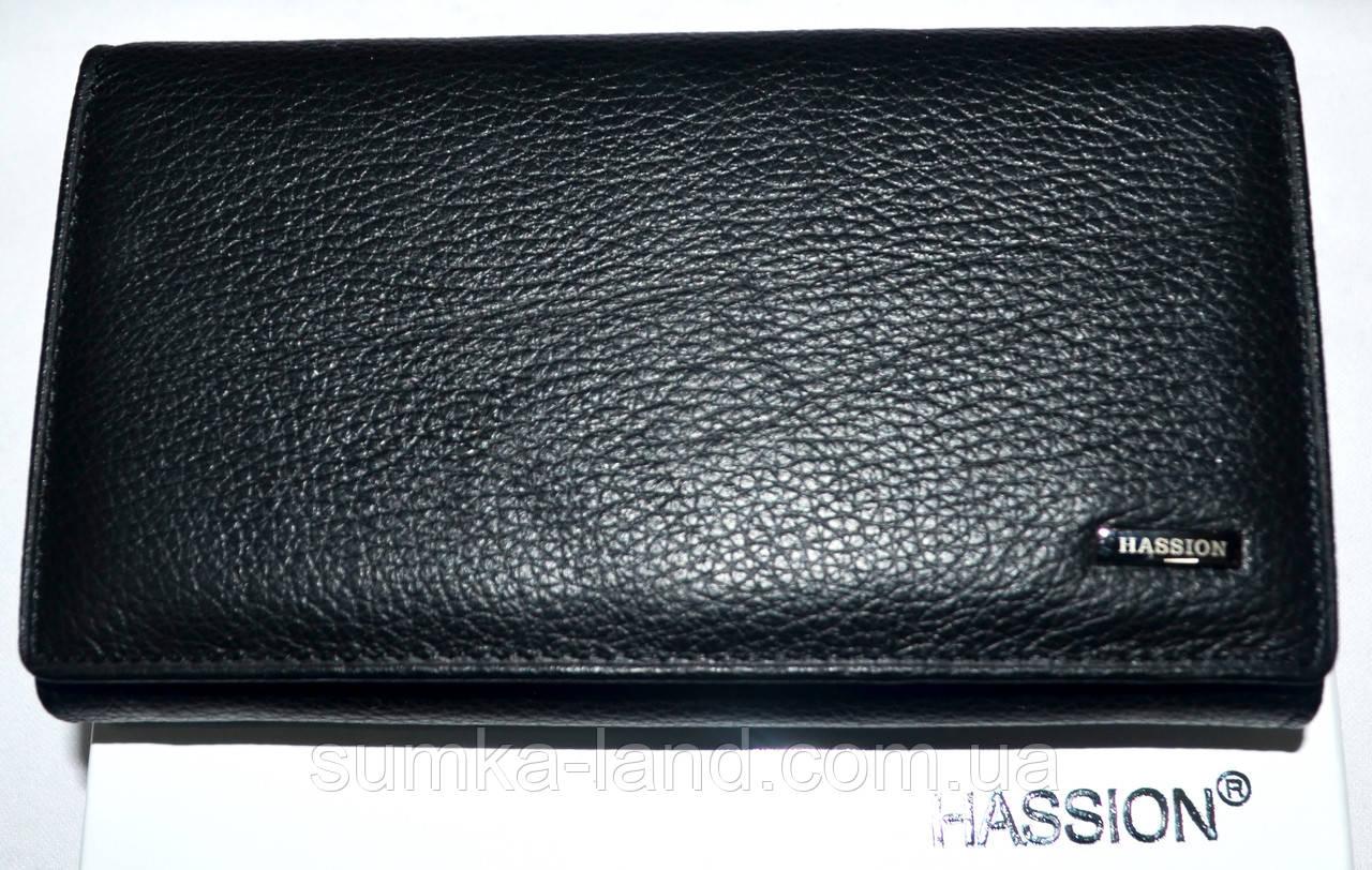 Женский черный кожаный кошелек Hassion на кнопке среднего размера