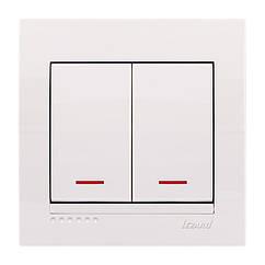 Выключатель двойной с подсветкой белый Lezard DERIY 702-0202-112