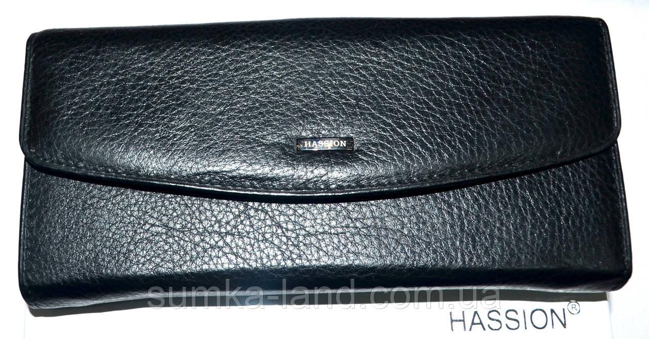Женский кожаный кошелек Hassion на кнопке черного цвета