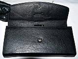 Женский кожаный кошелек Hassion на кнопке черного цвета, фото 3