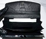 Женский кожаный кошелек Hassion на кнопке черного цвета, фото 4