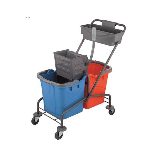 Тележка на колесах для уборки помещений 90x45x80 с отжимом, корзиной и 2-я ведрами по 25л (Uctem) Турция
