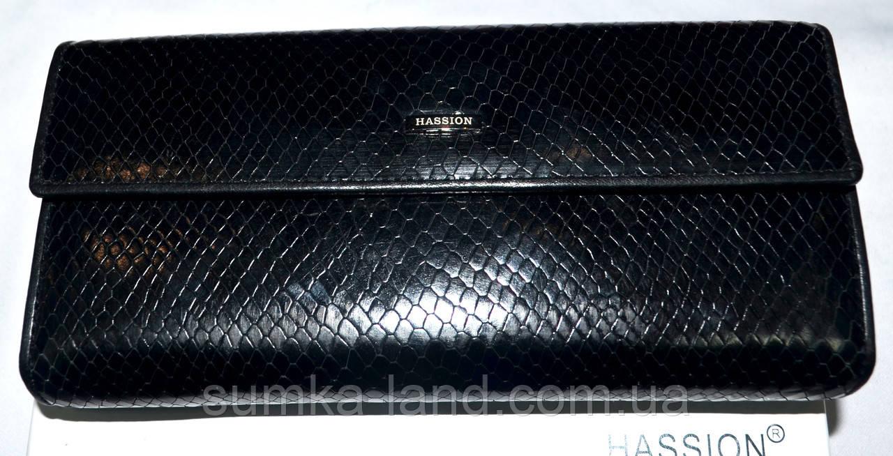 Женский черный кожаный кошелек Hassion на кнопке под рептилию