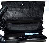 Женский черный кожаный кошелек Hassion на кнопке под рептилию, фото 4