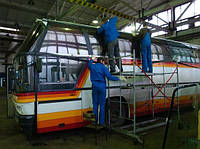Чистка стеклопакаетов автобусов  Икарус